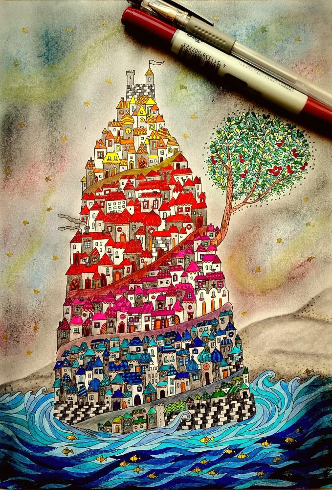 Inseln der Träume von Anita Grabos - Malbuch für Erwachsene - ausgemalt von Nicole