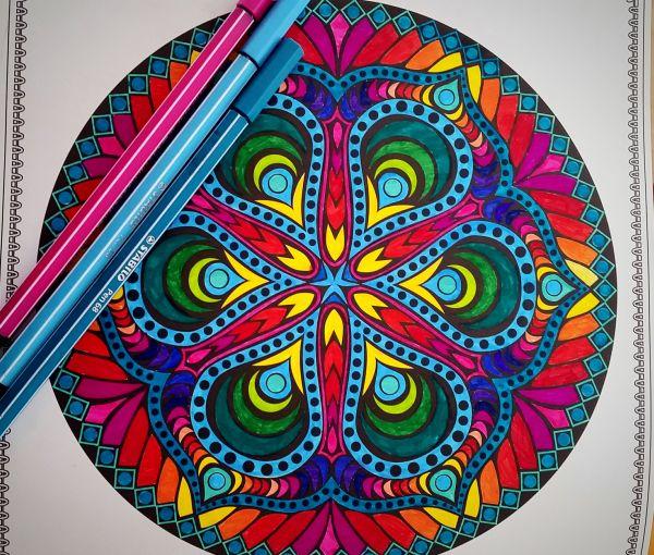 Malbuch für Erwachsene - Kreative Auszeit - Ein Blüten und Mandalatraum zum Ausmalen von Nicole gemalt