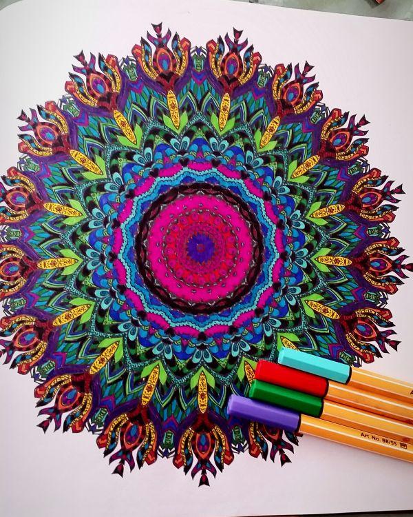 Kreative Auszeit- Ein blüten und Mandalatraum zum Ausmalen - Nicole malt Malbuch aus