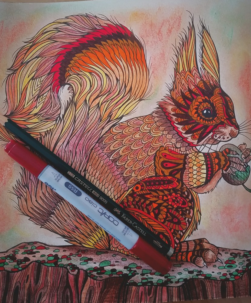 Tierzauber - Ausmalmotive für mehr Gelassenheit - Malbuch für Erwachsene - Eichhörnchen ausgemalt von Nicole