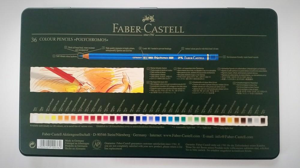 Faber-Castell Polychromos 36 Metalletui Rückseite
