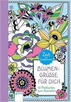 Postkarten zum Ausmalen für Erwachsene Blumen Grüße für dich