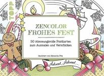 Postkarten zum Ausmalen für Erwachsene Zencolor frohes Fest